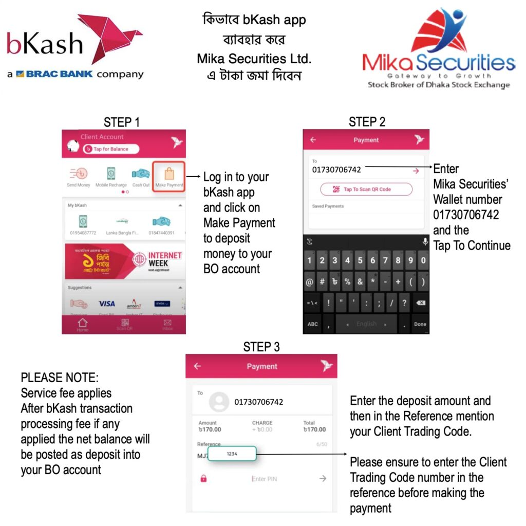 Deposit using bKash
